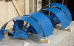 Some of the pulleys, painted in the original colour, and ready for re-mounting
