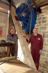 Neil and Chris looking smug because the pulleys are back in place with a new support and bearing.
