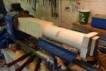 Turning a new shaft for the tensioning pulley